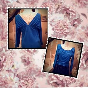Super feminine electric blue blouse